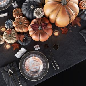 Golden Autumn Table Set 3d Model
