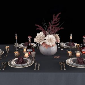 Table Setting With Bouquet 3d Model