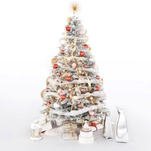 Set Of Christmas Tree And Decorative Elements
