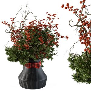 Christmas Decoration 04 - Pine And Red Berry