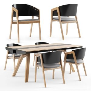 Vox Nature Dining Table With Vox Uni Chair Black