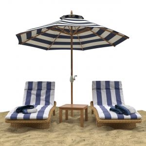 Beach Umbrella And Chaise Longue