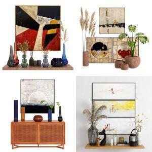 4 Decor set by Vases and Art Frames