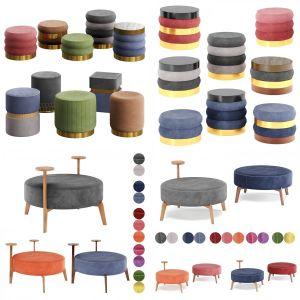 Velvet Poufs by adjustable Color