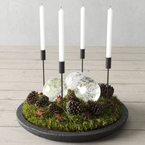 Christmas Decor With Pine Cones And Candles