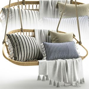 Hanging Rattan Bench Serena & Lily