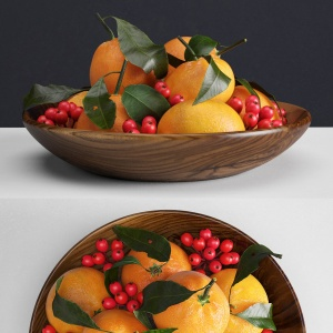 Mandarins and holly berries
