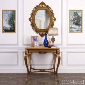 Antique French Onyx Table And Antique Gold Mirror