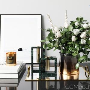 West Elm Decor Set White Rose Bouquet Green Marble