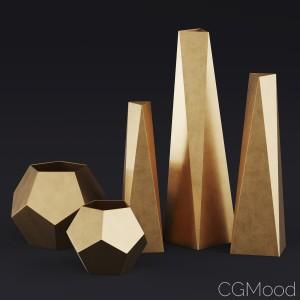 Rh Brass Geometric Vase Collection