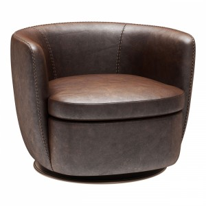 Restoration Hardware Klein Leather Swivel Chair