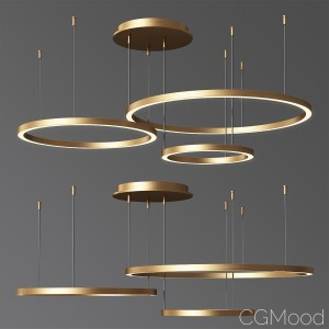 Art Deco Small & Large Hoops Led Ring Chandelier