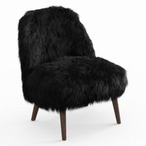 Sheepskin Fur Black Armchair