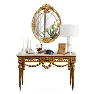 Louis Xvi Console In Gilt Wood & Oval Brown Resin