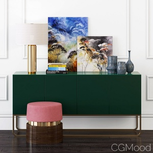 Gorgeous Green Console & Pillar Table Lamp