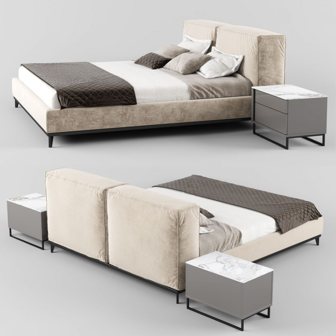 Modern Fabric Bed With Upholstered Headboard 3d Model For Vray