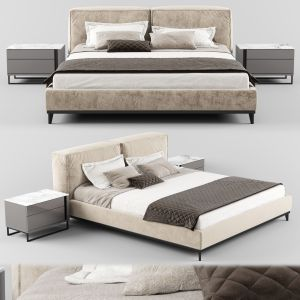Modern Fabric Bed With Upholstered Headboard