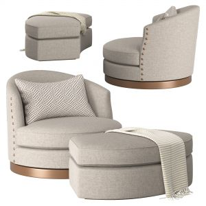 721 - Swivel Chair And Ottoman - Burton James