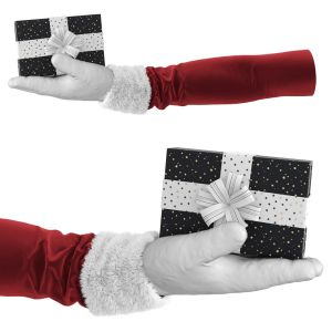 Hand Holder In A Santa Costume And In A White Glov