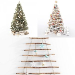 Collection of two floor and one wall Christmas trees
