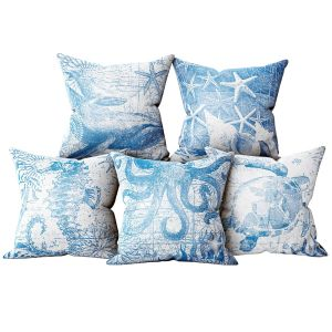 Set Of Decorative Pillows In A Marine Style