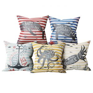 Set Of Decorative Pillows In A Marine Style 2