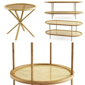 Wooden rattan tables collection Vol_1