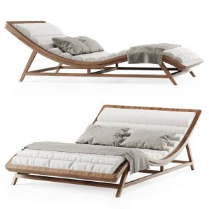Large Wooden Chaise Lounge